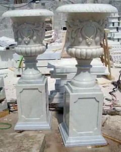 Pair of Urn on Pedestal - White Marble