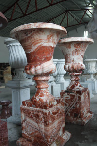 Pair of Urn on Pedestal - Red Marble
