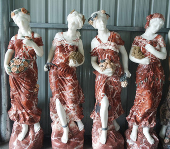 Set of Four Seasons Multi Color Marble