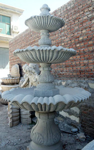 3-Tier Fountain with Basin - Carved Granite15420