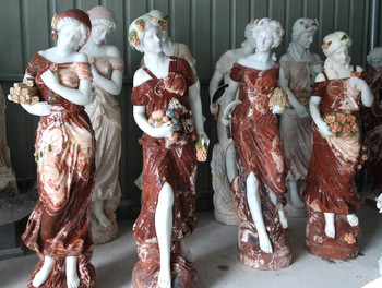 Four Seasons Statues Multi Color Marble