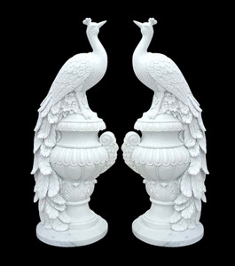 Pair of Peacocks Base - White Marble