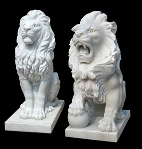 Pair of Sitting Lions -White Marble181