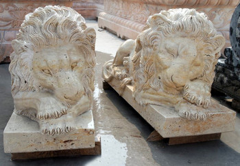 Pair of Lying Lions -Beige Marble
