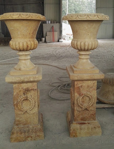 Pair of Urns on Pedestal - Beige Marble