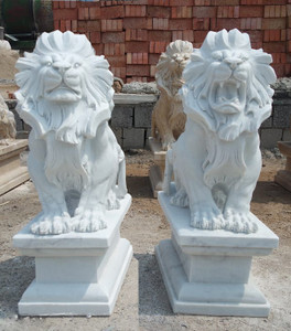 Pair of Sitting Lions - White Marble
