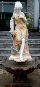 Woman Wall Fountain Multi Color Marble 16110
