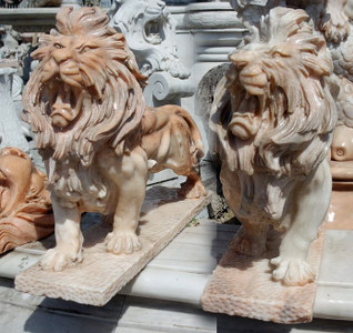 Pair of Sitting Lions -Beige Marble12002983