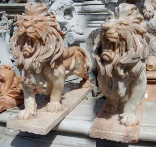 Pair of Sitting Lions -Beige Marble12002983
