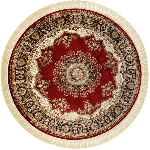 Red Round Persian Design Area Rug 7ft Dia
