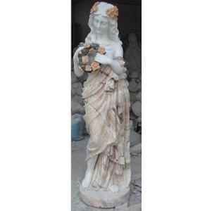 Rare Multi Marble Lady Statue