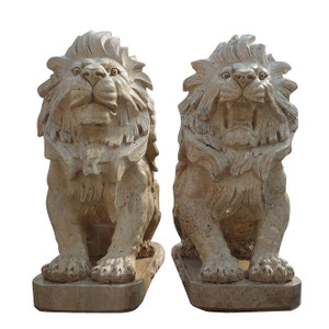 Pair of Sitting Lions -Beige Marble