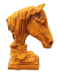 """16""""H Antiqued Horse Bust Statue Rust Cast Iron Garden Sculpture"""