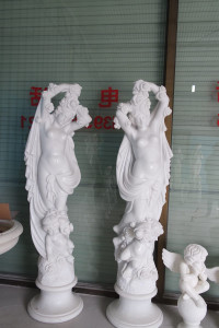 Pair of Woman w/Roses - White Marble