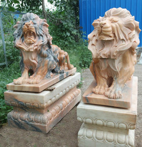 Pair of Sitting Lions - Multi Color Marble