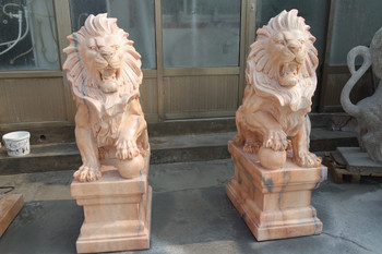 Pair of Sitting Lions -Sunglow Marble
