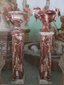 Pair of Urn on Pedestal -Multi Color Marble