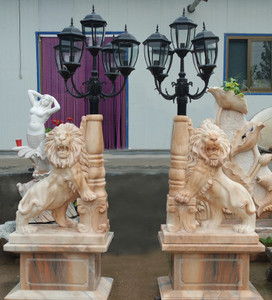 Pair of Sitting Lion Lighting - Multi Color Marble