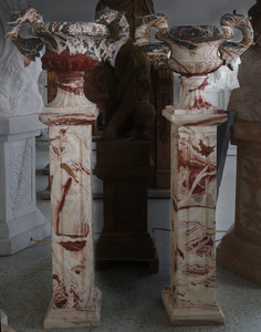 Pair of Urn on Pedestal Multi Color Marble