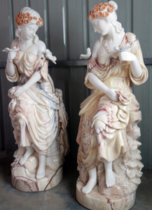 Pair of Woman Sitting - Multi Color Marble