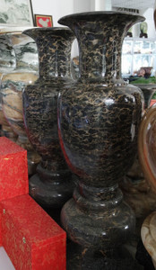 Pair of Magnificent Vase on Base  - Multi Color Marble