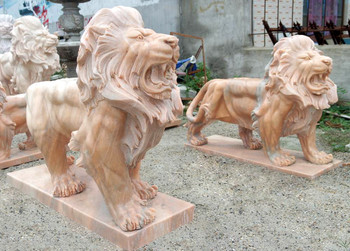 Pair of Standing Lions - Beige Marble