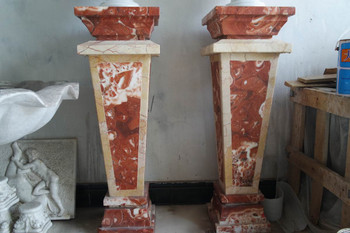 Pair of Pedestals - Multi Color Marble