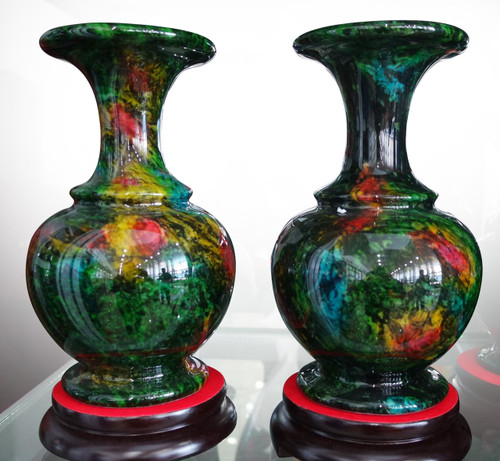 Pair Of Multi Color Jade Vases 16502 World Of Decor