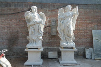 Pair of Angels on Base - White Marble
