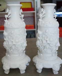 Pair of Urns with Feet White Cast Stone