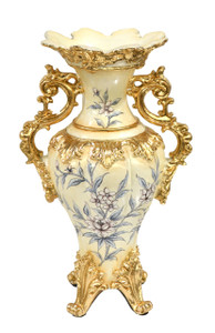 Blue Floral Vase with Handles