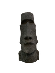 "9""H Easter Island Head Outdoor Garden Decoration Black Fiber Clay"