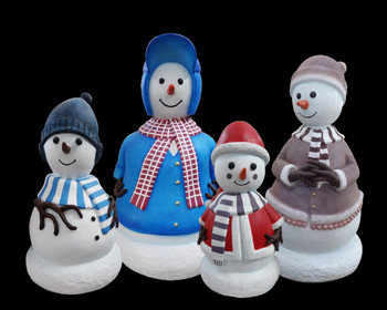 Mini Snowman Family Set of 4 Statues Christmas Decoration