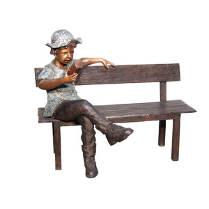 "38""H Boy Sitting On Long Bench Bronze Statue Garden Sculpture"