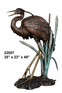 "49""H Heron No 2 Bronze Statue  Garden Sculpture"