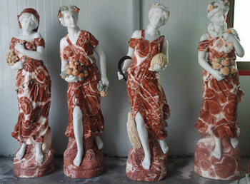 Four Seasons on Base Multi Color Marble 16729