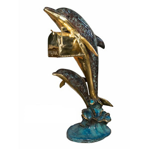 Bronze Mailbox of 2 Dolphins in Polychrome Patina