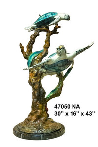 "43""H Two Turtles Coral On Marble Base In Special Patina Bronze Statue Garden"