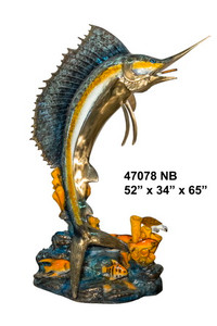Gallery Bronze - Swordfish on Marble Base - Polychrome Patina