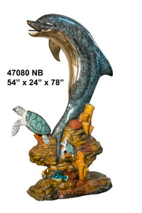 Gallery Bronze - Dolphin & Turtle on Marble Base - Polychrome Patina
