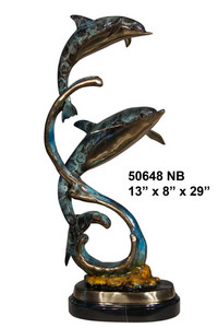 "29""H Two Dolphins On Marble Base In Special Patina Bronze Statue Garden"