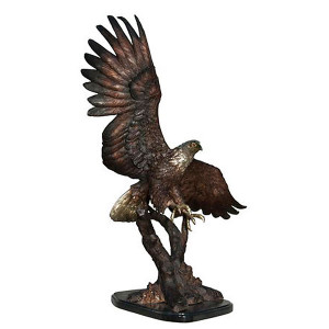 Gallery Bronze Eagle in Tree on Marble Base