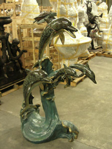 "63""H Dolphin Fountain In Special Patina Bronze Statue Garden Sculpture"