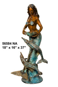 Mermaid with Dolphin Fountain (Special Patina) - Bronze