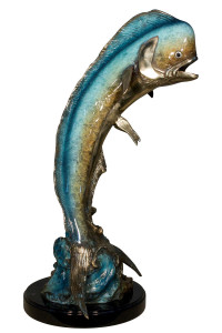 "30""H Dorado On Marble Base In  Special Patina Bronze Statue Garden Sculpture"