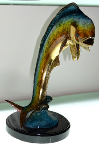 "14.5""H Dorado Fish In Special Patina On Marble Base Bronze Statue Garden"