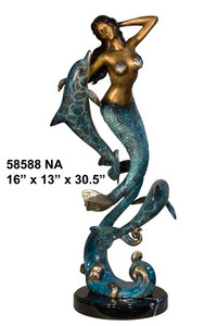 Bronze Mermaid w/ Two Dolphins on Marble Base - Polychrome Patina