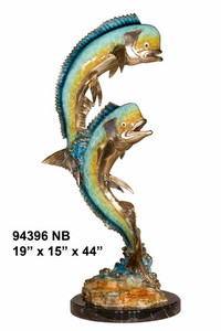 Gallery Bronze Statue - Mahi Mahi on Marble Base - Polychrome Patina