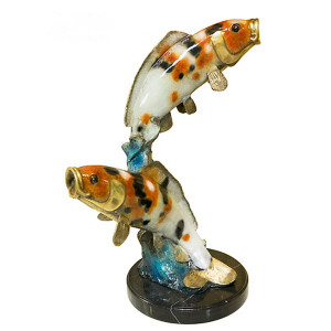 "28""H Two Koi On Marble Base In Special Patina Bronze Statue Garden Sculpture"