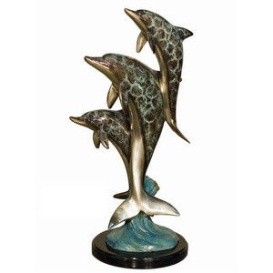 3 Dolphins on Marble in Special Patina